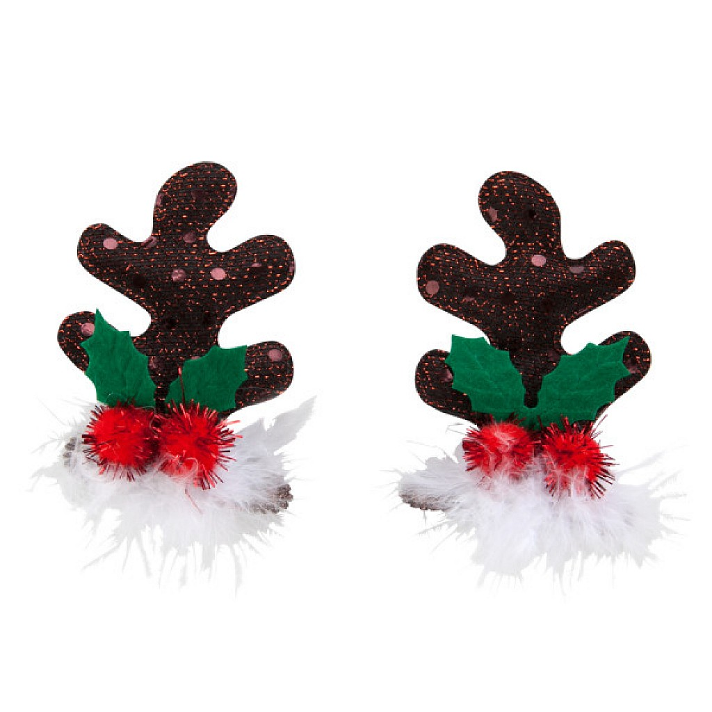 Top Paw Pet Holiday Glitter Reindeer Antler Hair Clips